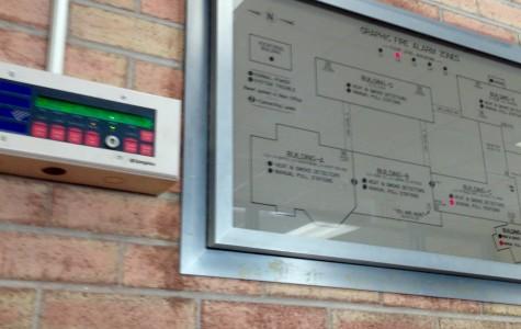 The school's fire alarm grid near the main office.