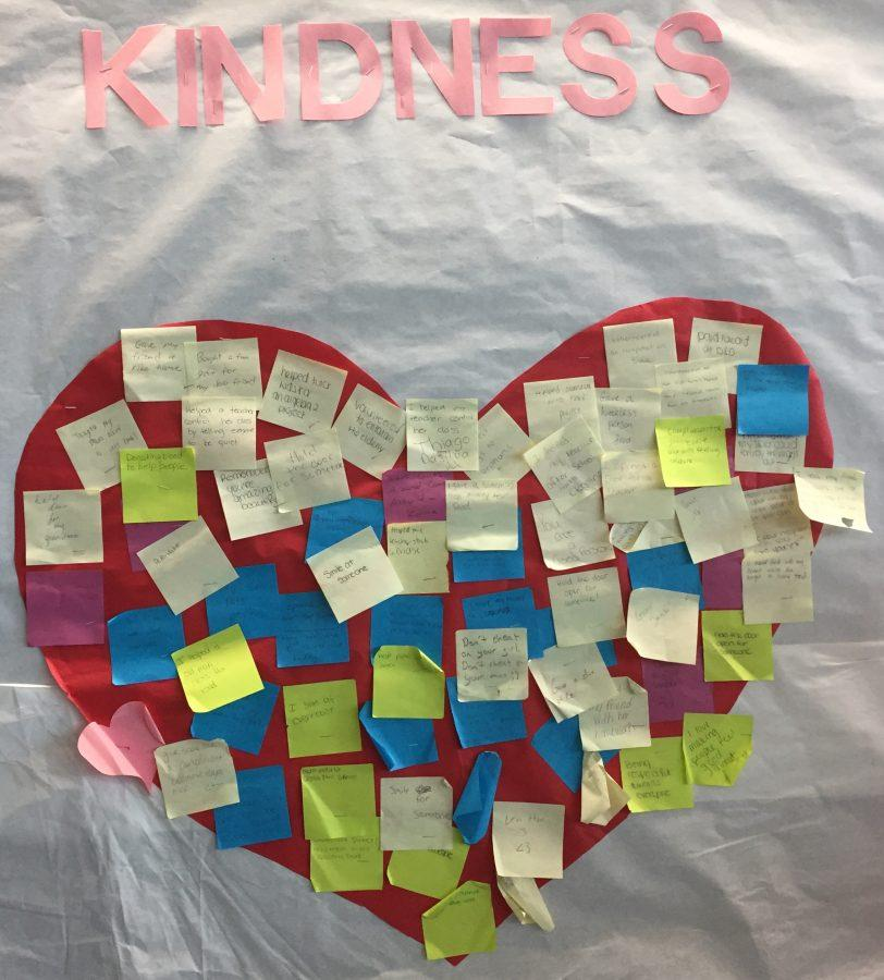 Kindness heart in the DHS cafeteria.