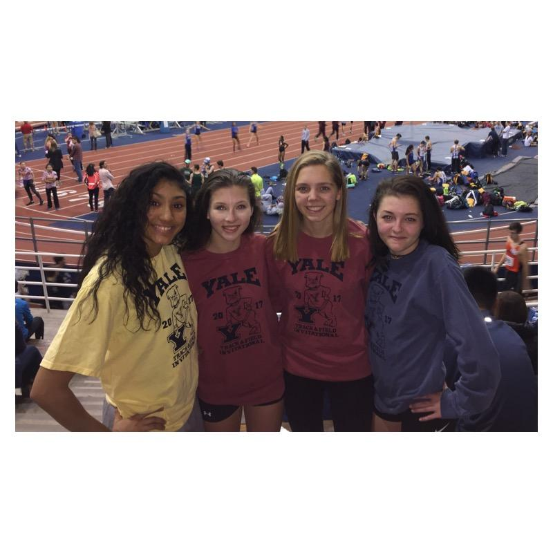 Samantha Vasquez, Lauren Moore,  Leah Sarkisian and Olivia Turk pose for a picture at the Yale Invitational.
