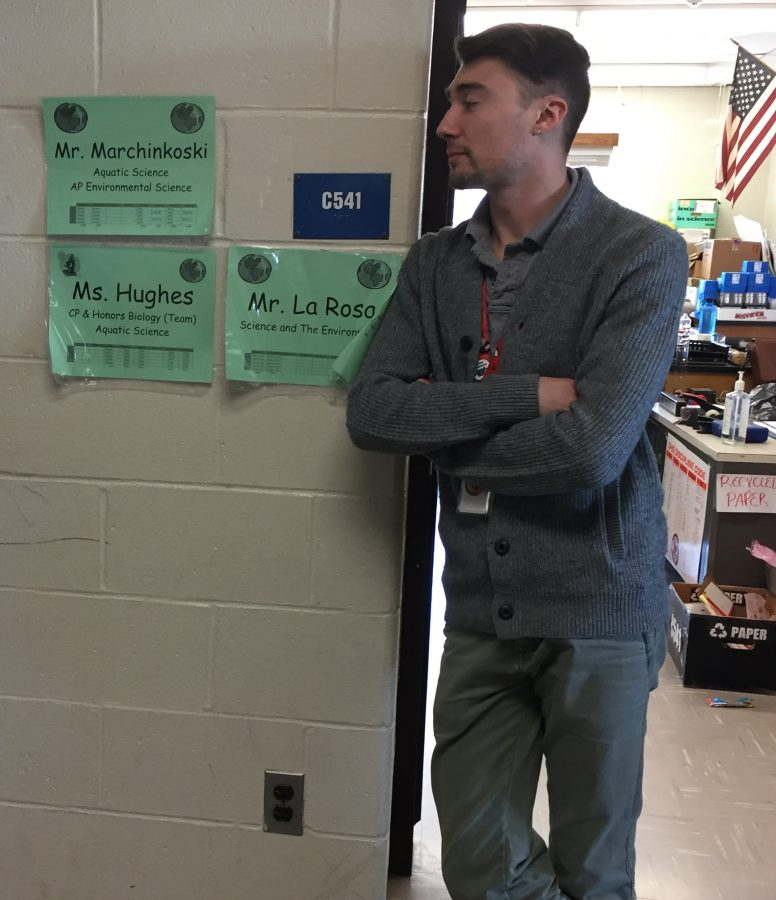 Science teacher R.J. Marchinkoski stands outside his door in the C-Wing where he often times he catches students under the influence of marijuana.