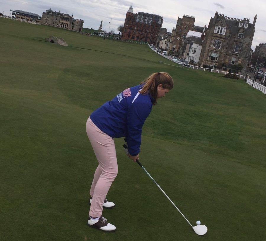 Junior Payton Dorsch, captain of the Girls Golf team and No. 1 seed, plays the links in Scotland to help sharpen her skills.