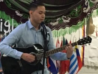 One of the solo acts that entertained the audience at the Latino Club's International Night.