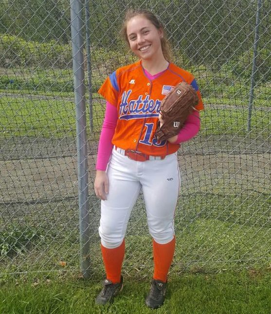 Softball team pitcher and captain, Alyna Bellantoni. The senior changed positions this year when the team was in need of pitching.