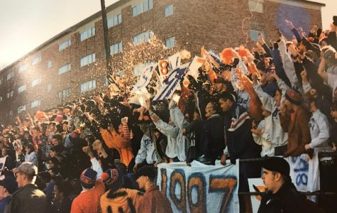 A photo of the DHS pep rally in 1997.