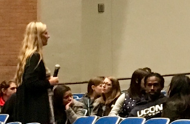 Scarlett Lewis talks to DHS faculty during a recent PD about the power of using her free Choose Love Enrichment Program.