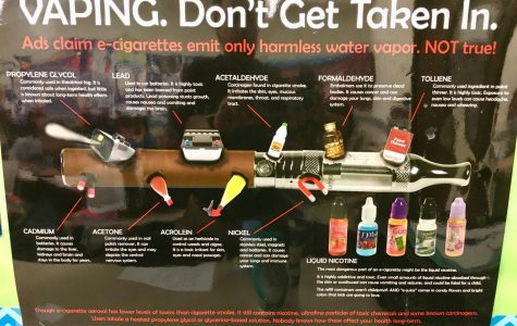 This poster in a health classroom explains the hazards of using e-cigarette pens.