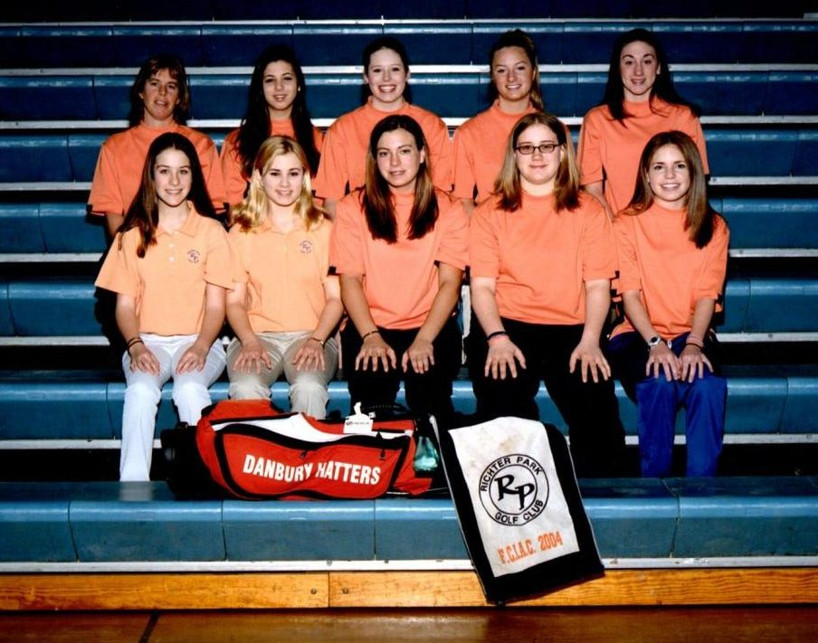 The 2005 girls' winning golf team, with Coach Kathy Boucher, left, second row. (Casey Hanrahan, bottom left, is now an English teacher here)