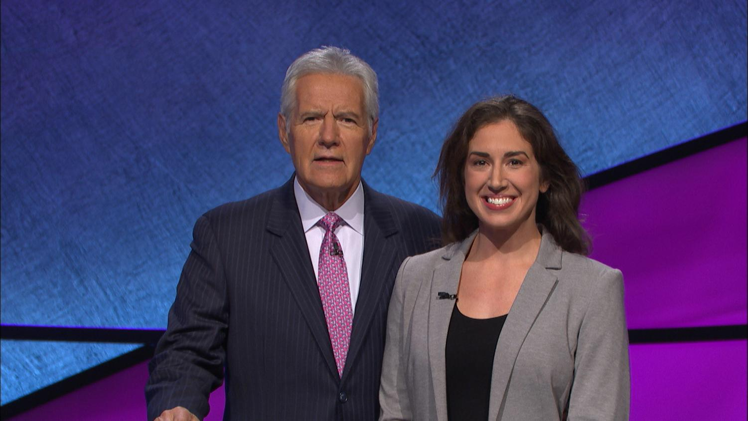 Jennifer Tomassi poses with host Alex Trebek after the show.