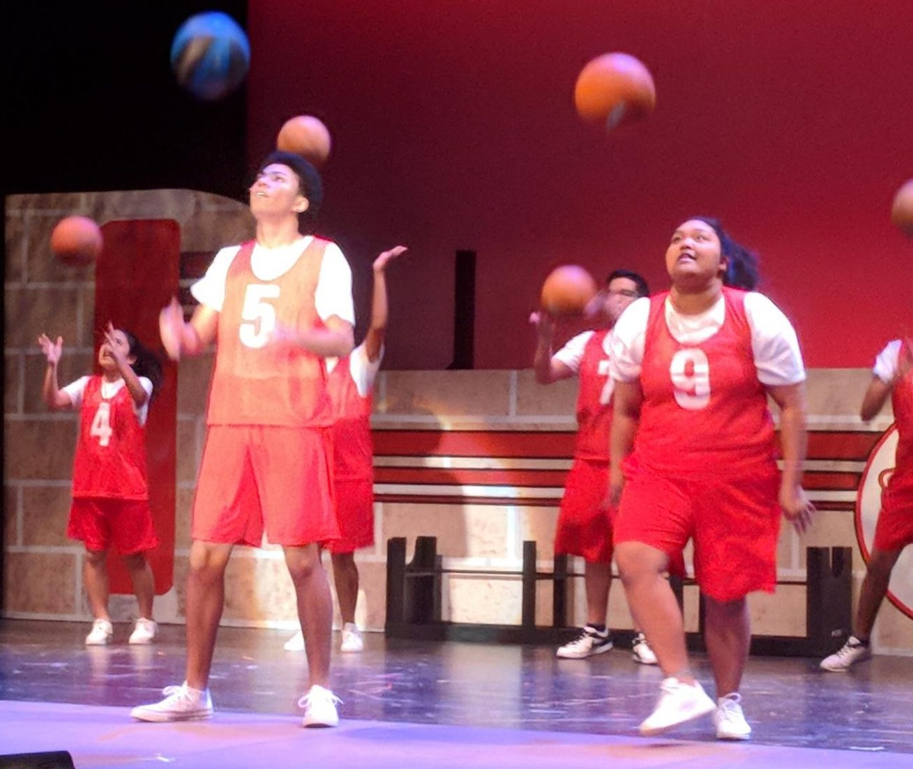 The cast of Disney's High School Musical runs through a number during Tuesday's dress rehearsal. The play opened today.
