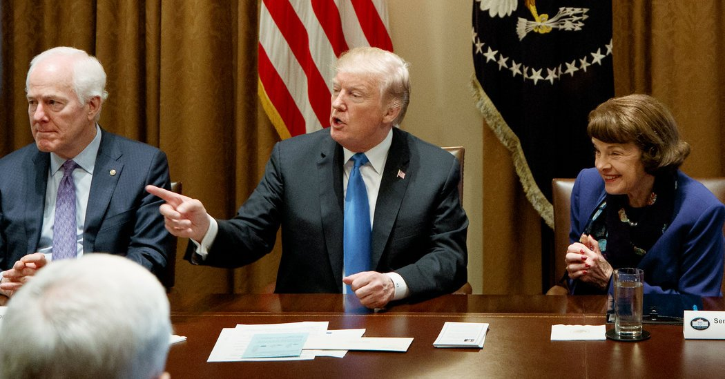 President Trump on Feb. 28 held a meeting at the White House to discuss potential gun control measures with members of Congress, including Connecticut Sen. Chris Murphy. Trump said a deterrent to school shootings like the one in Parkland would be to arm teachers who volunteer for training.