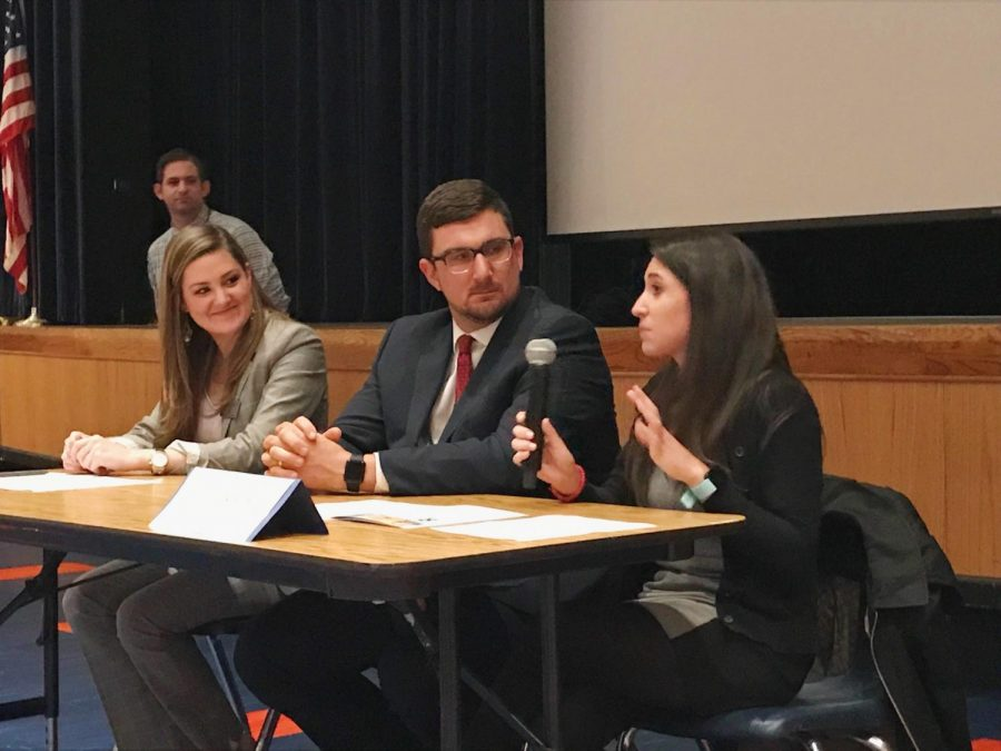 College admissions officials spoke with parents and students at a recent admissions event hosted by the school's counselors.