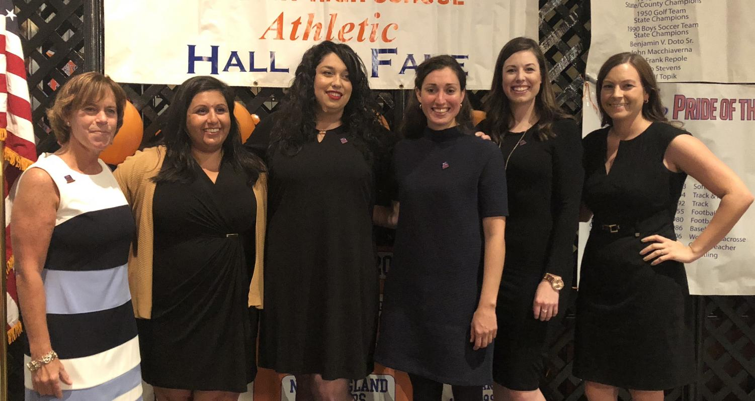 The 2004 and 2005 State Champion girls' golf team was inducted into the DHS Hall of Fame during a dinner ceremony Oct. 26 at the Amber Room. From left, Coach Kathy Boucher, Nicole Najam, Kelly Rose Kronen, Stacey Baradit, Megan Corbett, and Jen Tierney.