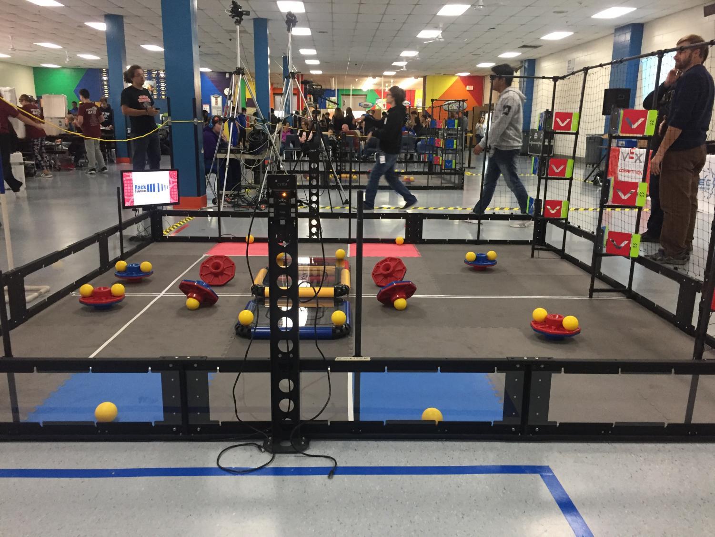 Game set up at the 5th annual CTEEA VEX Robotics Qualifier at Danbury High School