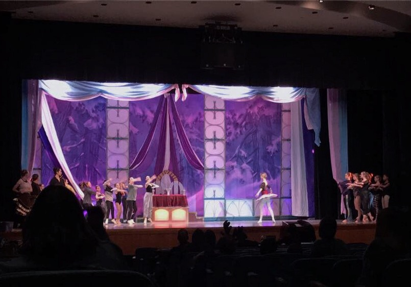 Dancers rehearse in the auditorium in preparation for the weekend production of