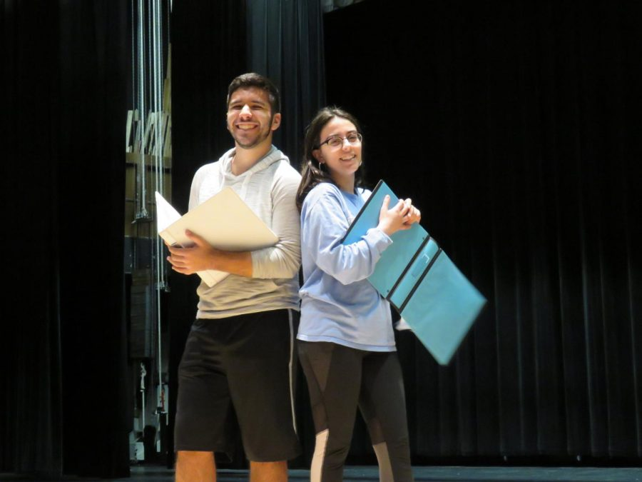 Gabby+D%27Ostilio+and+Ben+Pereria+rehearse+together+for+this+year%27s+DHS+Productions+musical%2C+%27Godspell.%27
