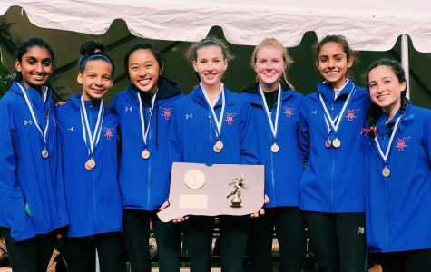The girl's cross-country team stands with its plaque from a successful Class Double LL title win. Many of the runners are now competing in the indoor track season.