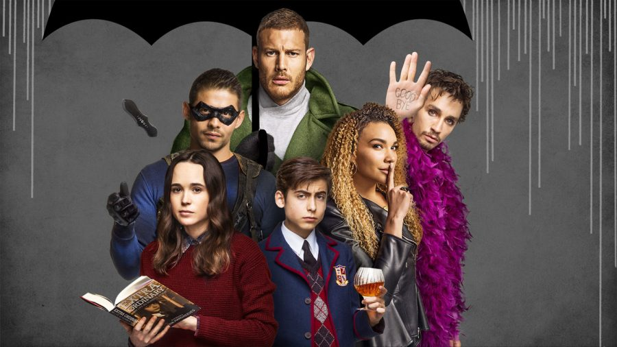 Netflix+original+series+%22The+Umbrella+Academy%22++features+Ellen+Page+as+Vanya%2C+bottom+left%2C+David+Casta%C3%B1eda+as+Diego%2C+left%2C+Tom+Hopper+as+Luther%2C+top+center%2C+Aidan+Gallagher+as+Number+Five%2C+bottom+center%2C+Emmy+Raver-Lampman+as+Allison%2C+right%2C+and+Robert+Sheehan+as+Klaus%2C+far+right.