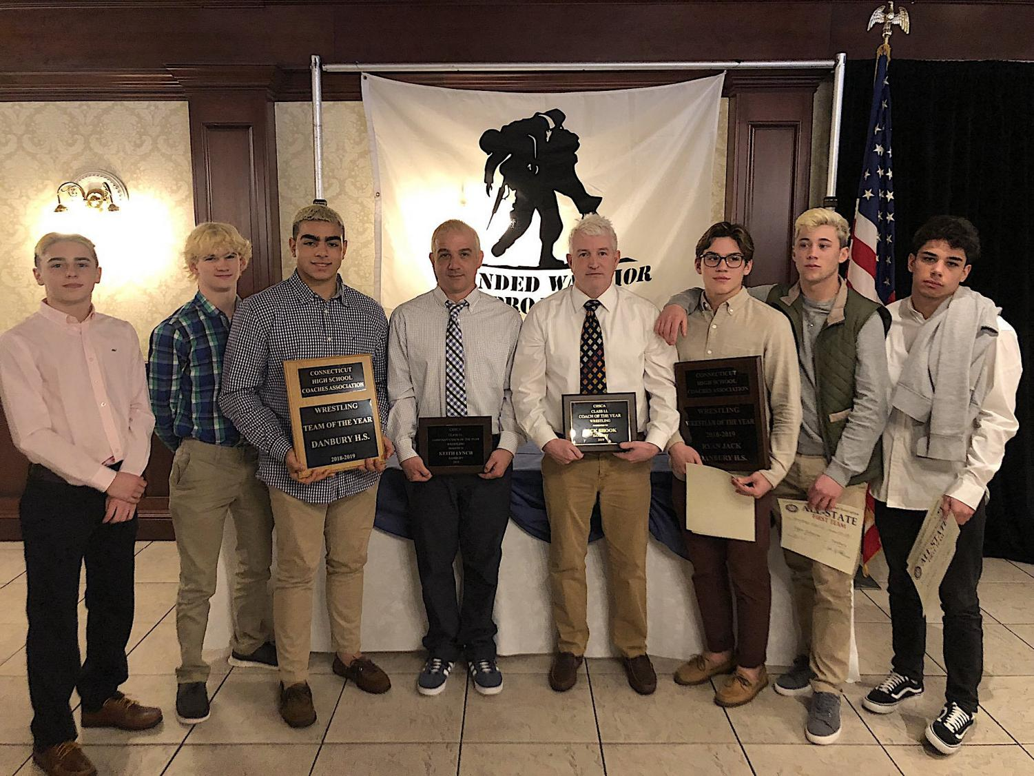 The Connecticut High School Coaches Association awarded the following to this year's wrestling team: Team of the Year, Wrestler of the Year to Ryan Jack, and Class LL Coaches of the Year to Richard Shook and Keith Lynch.