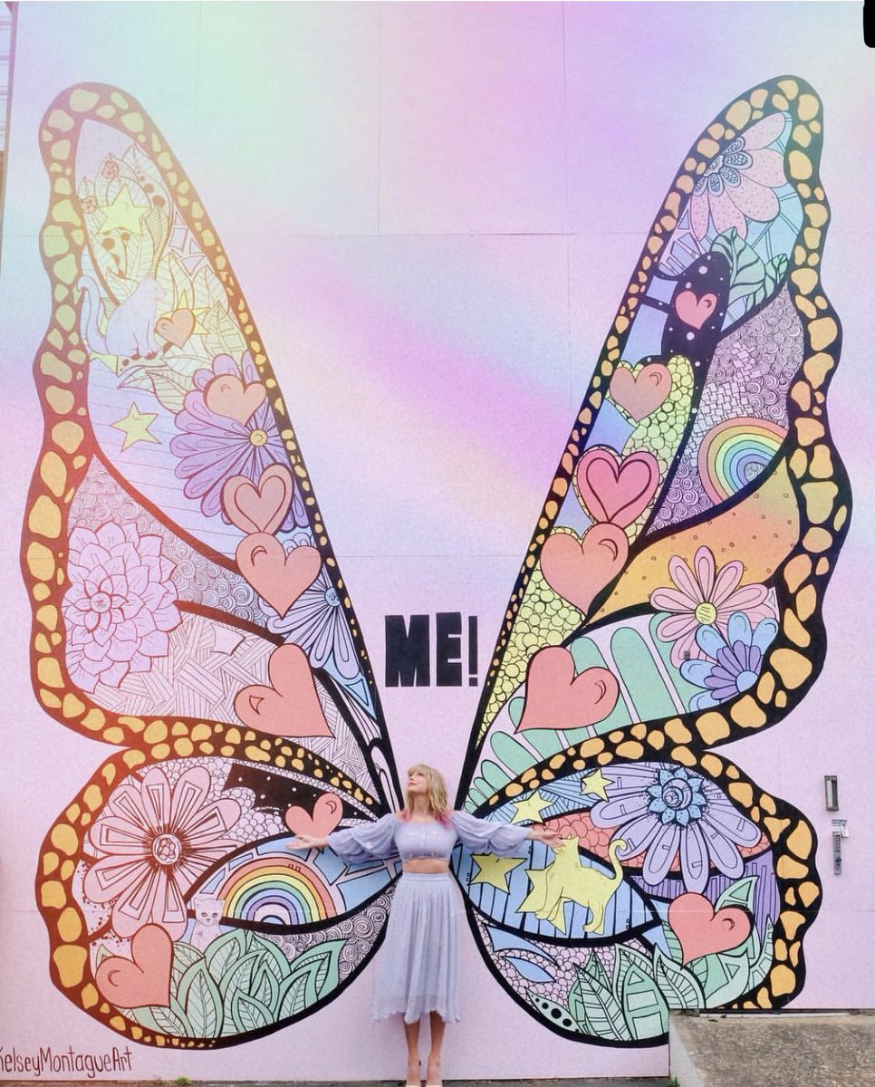 Taylor Swift at her Butterfly Mural in Nashville, Tenn. This mural was a part of her promotional campaign for her latest single, ME! (feat. Brendon Urie).