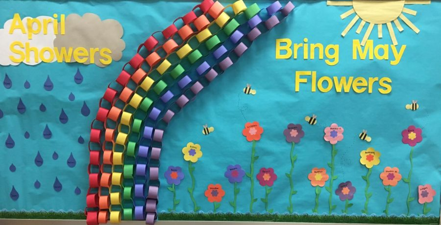Little Hatters classroom bulletin board is put up and decorated with preschoolers' names and bright colors.