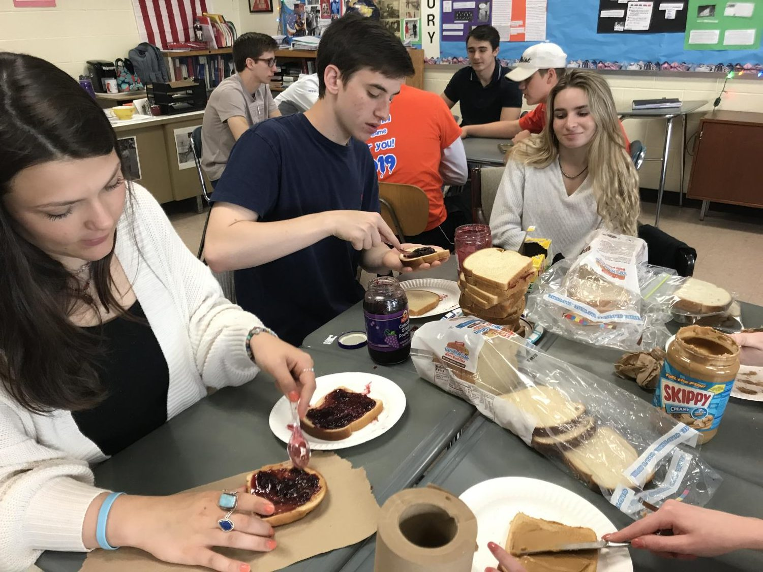 Mrs. Passarelli's Contemporary Issues class makes bagged lunches for a homeless shelter on Friday, May 17th.