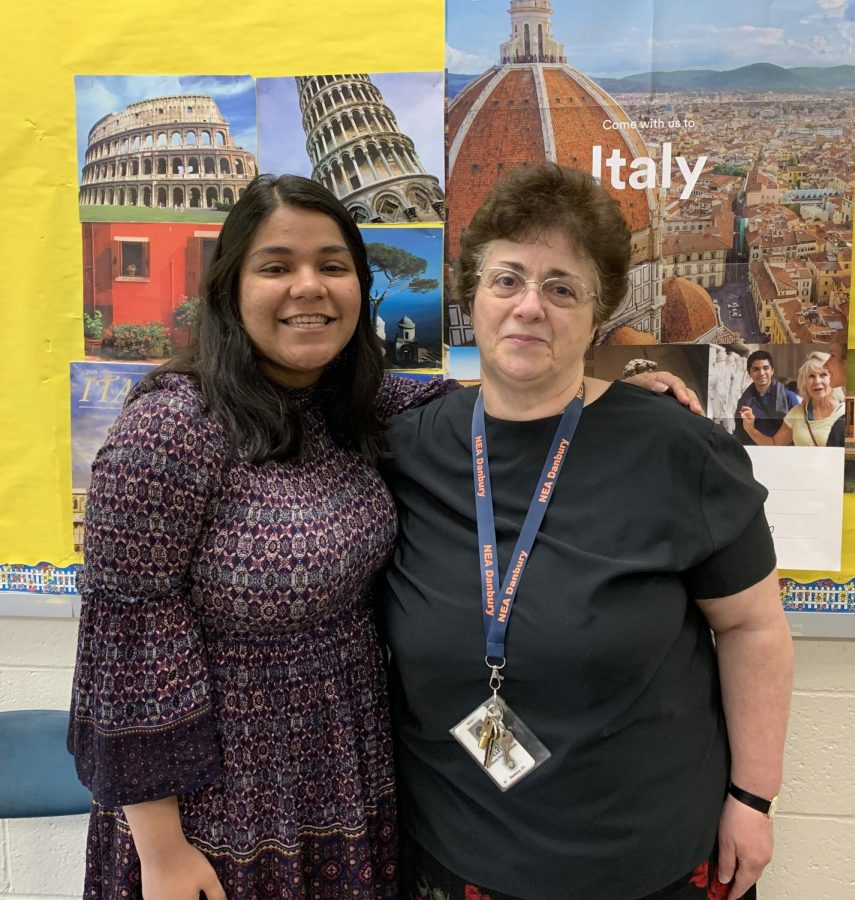 Valedictorian Barkha Bhavsar stands with French teacher Patricia Villella, who taught the exceptional student for two years. Bhavsar continues to visit Villella after school, and Villella praises her for going