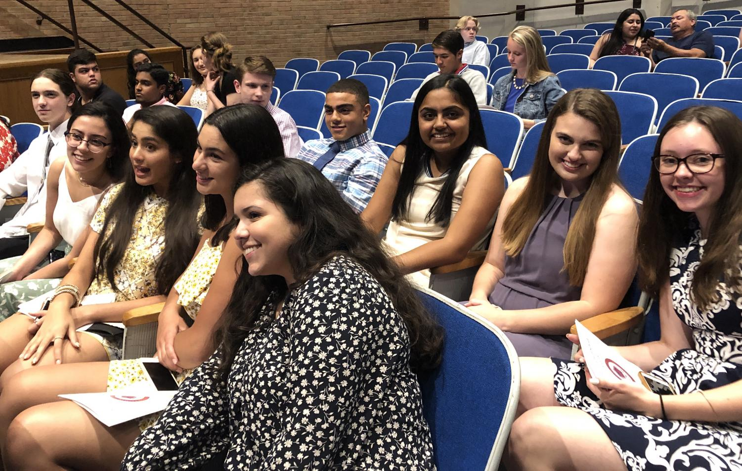 Seniors gather in the auditorium Monday night for Senior Recognition Awards ceremony.