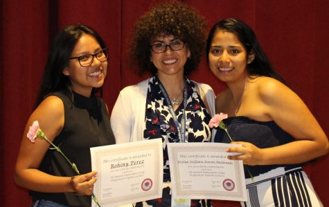 Soraya Bilbao, an EL teacher, celebrates success with two of 19 ELs who attended her AP class and sat for the exam.