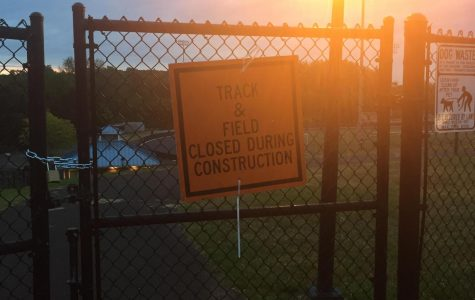 A sign details that the DHS track is closed during construction.
