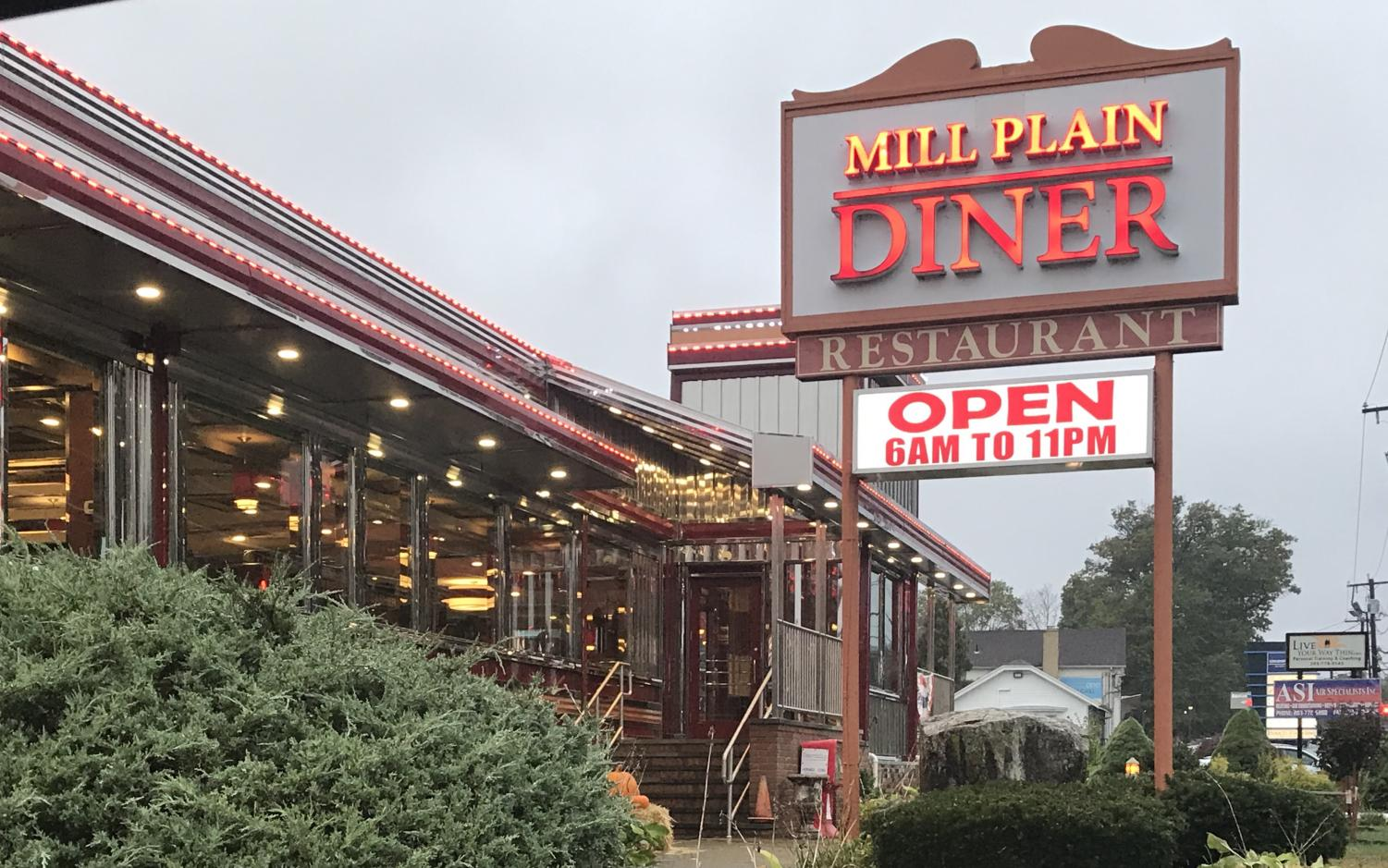 Front of Mill Plain Diner on Mill Plain Road.