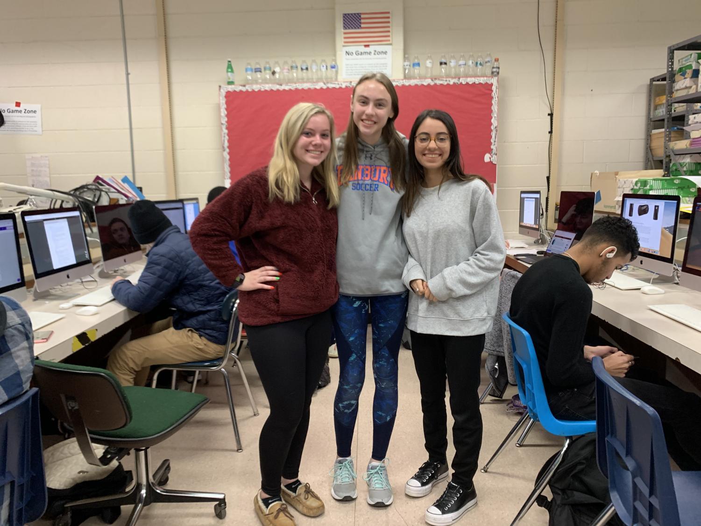 Kate Koelhoffer, Brooke Beneway and Linda Saad in Ap Computer Science class