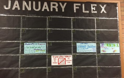 The new Peer Leadership project is a January calendar of FLEX enrichment activities near the front office.