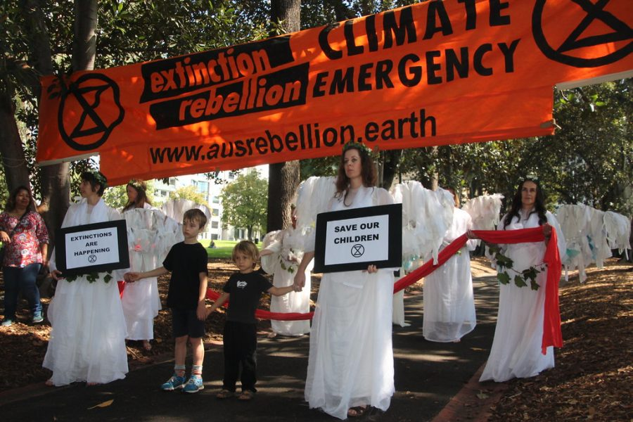 Climate change in protestors assemble in request for government action against the bushfires.