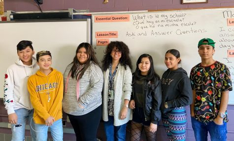 ESL and Newcomers teacher Soraya Bilbao with DHS Newcomers students.