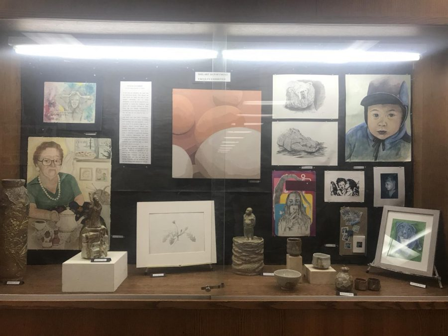 The display case near the auditorium.