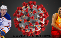 Connor McDavid (left) and Rudy Gobert (right), stand infront of a COVID-19 bacteria cell.