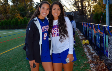 Jessica and Stephanie Queiroz during senior night at girl's soccer game