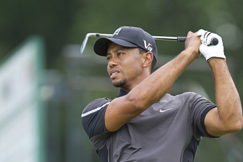 "Tiger Woods tees off, as one of the four participants of ""The Match II"""