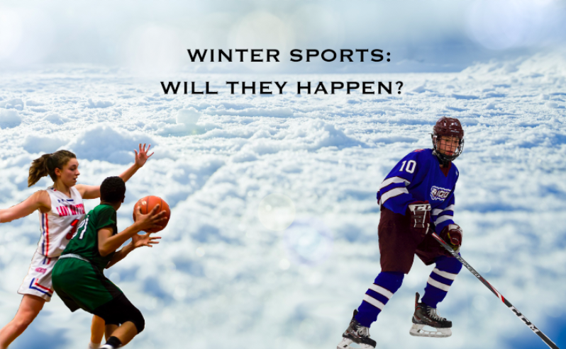 (This is an edited image featuring Girls Varsity Basketball player, Chloe Perrault, and Boys Varsity Ice Hockey player, Kyle Boller)