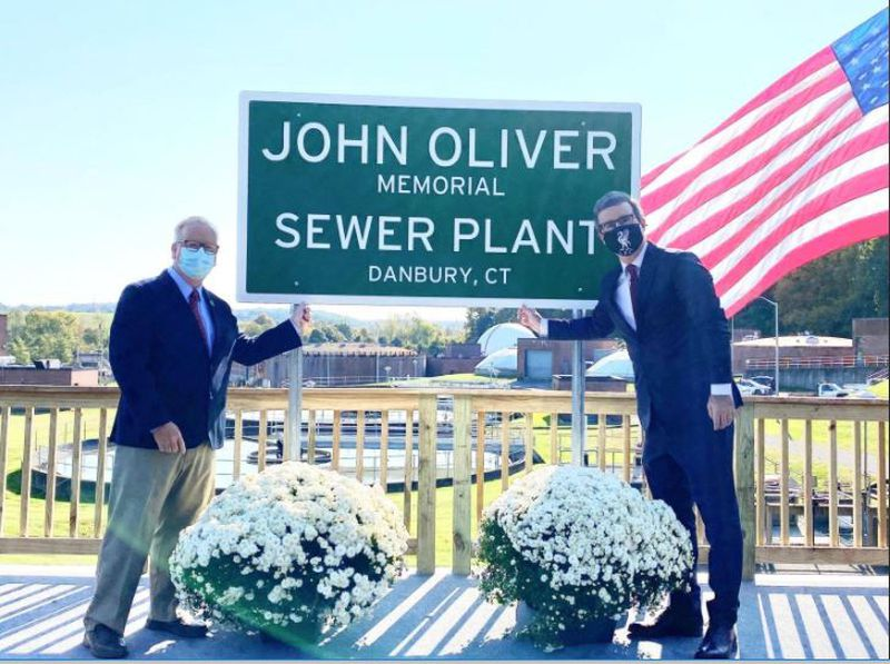 Former Mayor Mark Boughton (Left) and John Oliver (Right) at the opening of the John Oliver Memorial Sewer Plant.