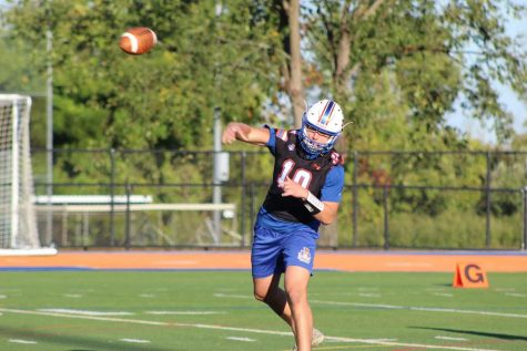 Senior quarterback Patrick Rosetti took the field for the Hatters Varsity football team at Danbury High School in September 2020.