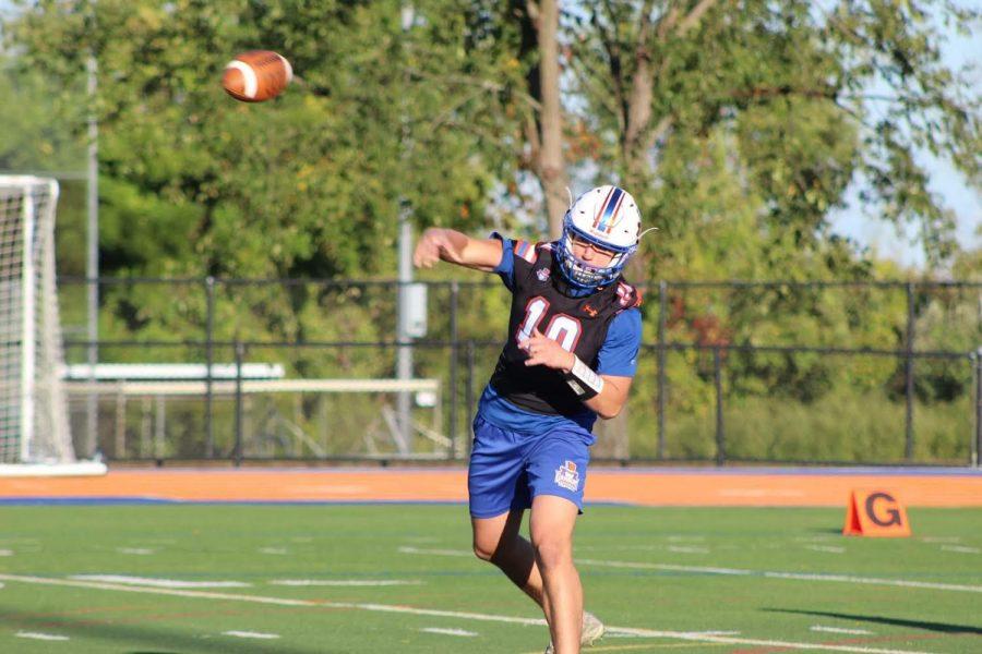 Senior quarterback Patrick Rosetti took the field for the Hatters Varsity football team at Danbury High School in September 2020.