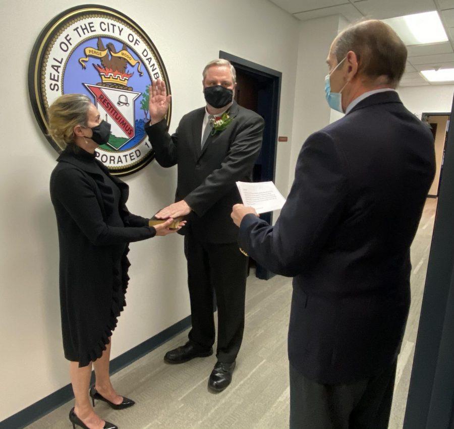 Joe Cavo is being sworn in as Danbury