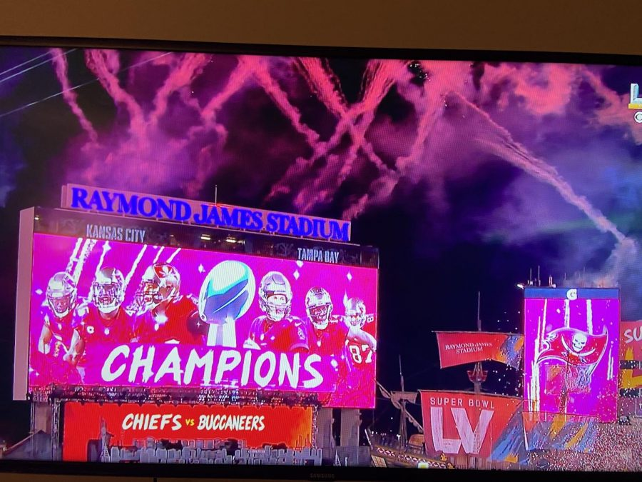 a photo captured of the Super Bowl LV broadcast on CBS