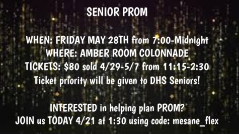 Senior prom will take place on May 28th from 7 pm to midnight. Tickets will be sold for $80 from April 29 to May 7.