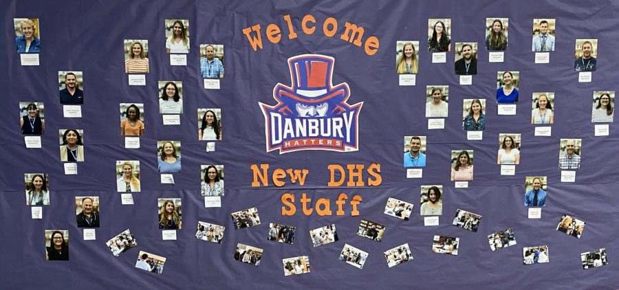 DHS welcomes the new staff next to the main office.