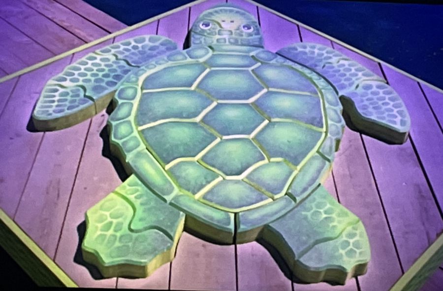 This is a turtle from one of the winning teams after the first challenge in Survivor Episode 2.